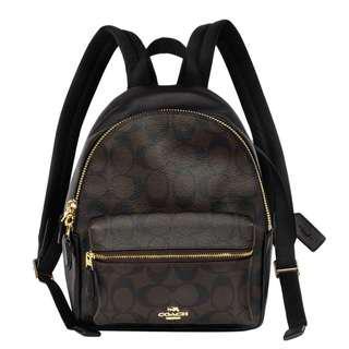 🚚 Coach 深咖啡C Logo拼接真皮前口袋雙肩後背包