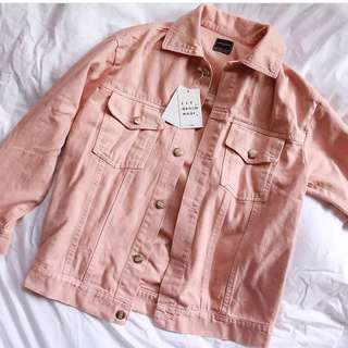 NEW Zara Oversized Pink Denim Jacket