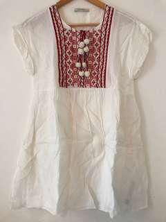 白色 刺繡 波波 民族 裙 white dress used once only ball