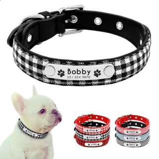 Customized Engraved Pet ID Tag Collar Plaid Striped For Small Dogs