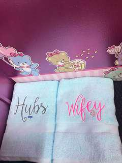 Personalised wedding embroidery towels