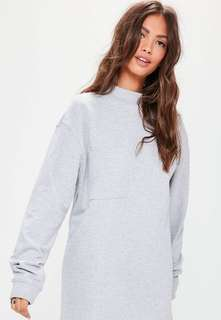 🚚 High Neck Grey Oversized Pullover