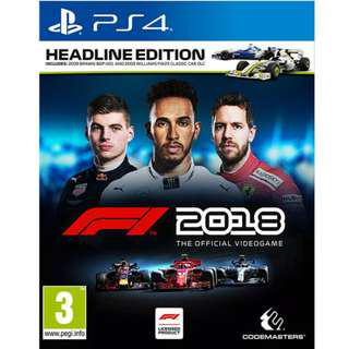 PS4 F1 2018 The Official Videogame Headline Edition
