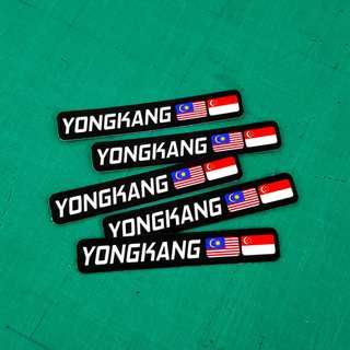 Name + 2 Country Flags Curve Edges Labels - 9cm X 1.5cm