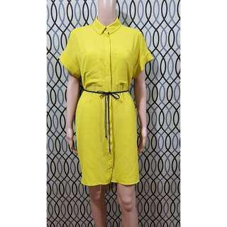 Monki yellow buttondown dress