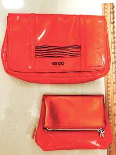 Kenzo clutch, hand bag, matching cosmetic pouch, red, party bag, makeup pouch, foldover bag