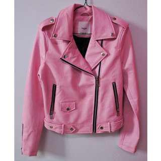 Mango Baby Pink Leather Jacket