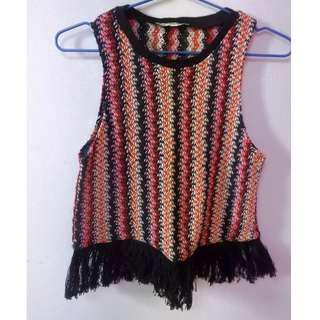 Zara Knitted Fringe Top