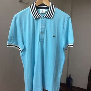RM429 Lacoste Contrast Striped Turquoise Polo Shirt