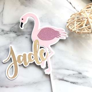 🚚 Customised Flamingo Cake Topper
