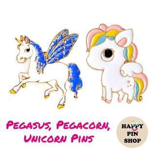 Pegasus, Pegacorn, Unicorn Enamel Pins