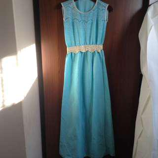 Blue Full Length Dress With Gold Detail