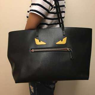 Fendi Leather shopping bag with bag bugs pattern