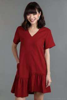 TVD Asymmetry Tee Dress in Red