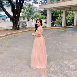 Peach Off Shoulder Gown