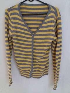 Gray and yellow stripe cardigan top