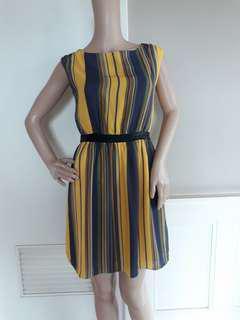 Mustard stripe backless dress