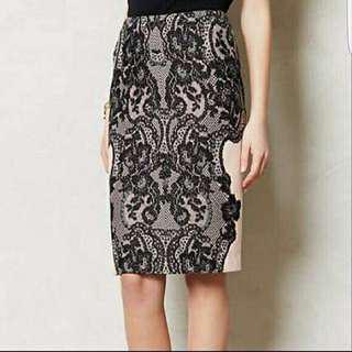 Anthropologie 00P Black Lace Pencil Skirt