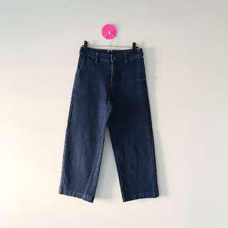 Muji Denim Wide Cropped Pants