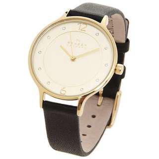 CLEARENCE! Skagen Women's Gitte Champagne Dial Brown Leather Watch SKW2138