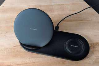 Samsung wireless charger duo (fast charging) with wall charger.