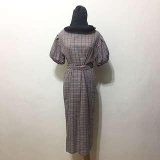 🚚 全新,韓系腰綁帶造型公主袖棉麻格紋洋裝,藍