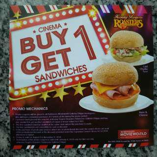 Robinsons Movieworld Buy 1 Get 1 Sandwich at Kenny Rogers Galleria