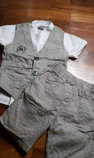 6-9 Months Grey Gentleman Suit 3pcs