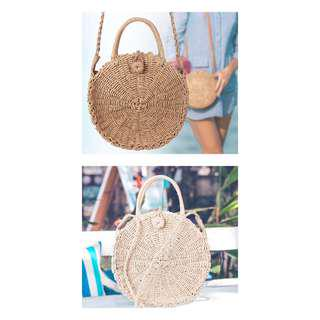 PREORDER - straw weaved rattan circle bag (khaki/off white - small & large)