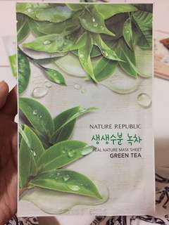 Sheet mask green tea