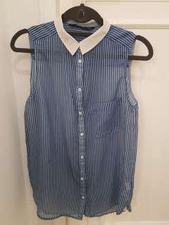 Zara Chiffon Striped Top