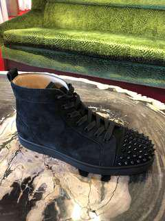 Authentic Men Christian Louboutin Lou spikes flat suede !!