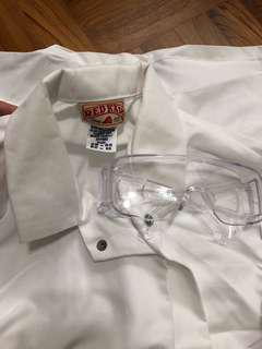 Lab coat and lab goggles