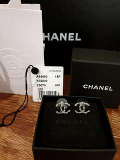 ✅Brand NEW Authentic CHANEL Classic Rhutenium Crystals Earrings (NAC local receipt)