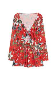 Pull & Bear Floral Romper with a knot