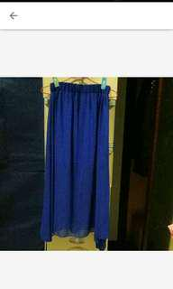 🚚 深藍雪紡下擺不規則長裙