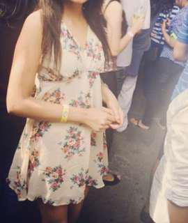 Summer floral nude dress