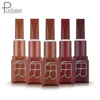 PUDAIER 5pcs/ set Fashion Makeup Matte Lipstick