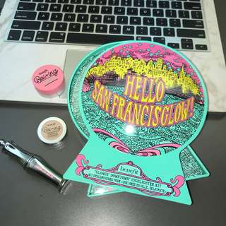 authentic benefit glowing downtown highlighter kit, airbrush concealer and brow gel