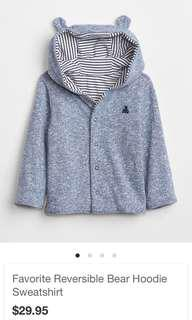 BNWT Baby Gap Favourite Reversible Bear Hoodie Sweatshirt