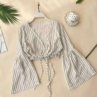 Stripy Bell Sleeve Top