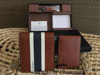 Ready stock: F75086 brown Varsity brown genuine leather short wallet