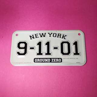 Licence Plate New York Ground Zero