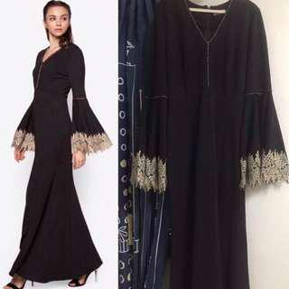 Zalia black gold dress