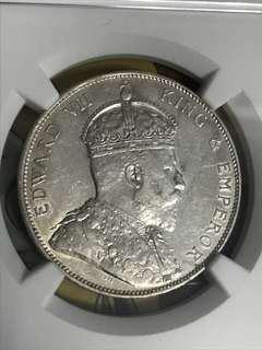 1904 半圆 愛德華七世銀幣 AU級