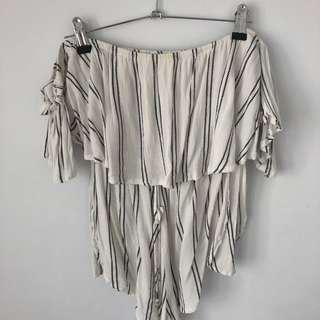 stripe off the shoulder playsiit