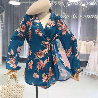 Floral Self Tied Blouse