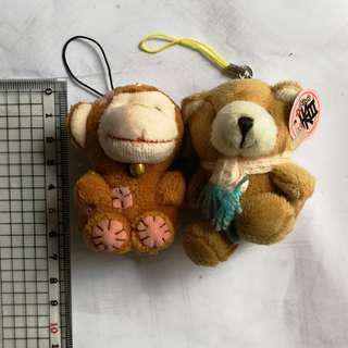 全新可愛猴子/熊仔吊飾手機繩