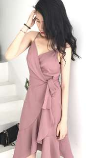 dusty pink overlay tie spag dress