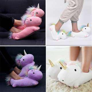 🦄🦄 Pretty Unicorn Bedroom Slippers 🦄🦄 Dreamy White Unicorn Plushie Slippers / Pink / Purple / White
